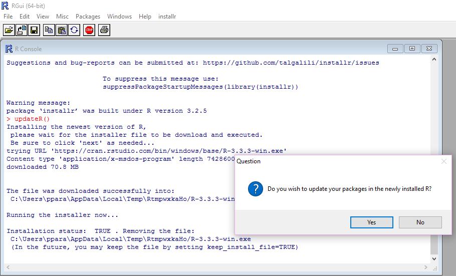 Plumbing - Updating R in few simple steps on Windows | An