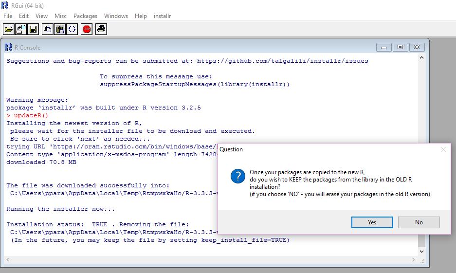 Plumbing - Updating R in few simple steps on Windows   An